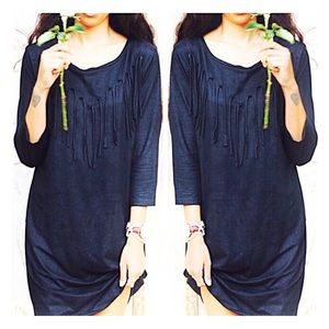 Black Bohemian Fringed T Shirt Dress with Sleeves